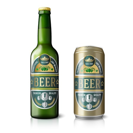 brown bottles: Green beer bottle and golden can, with labels.