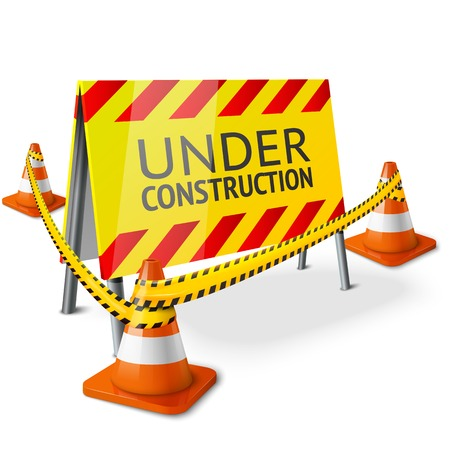 Bright Under Construction sign with orange stripped road cones and yellow caution tape. Vector