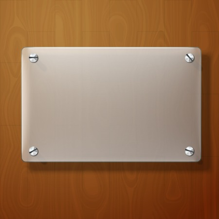 glass door: Vector frosted glass plate on wooden background.