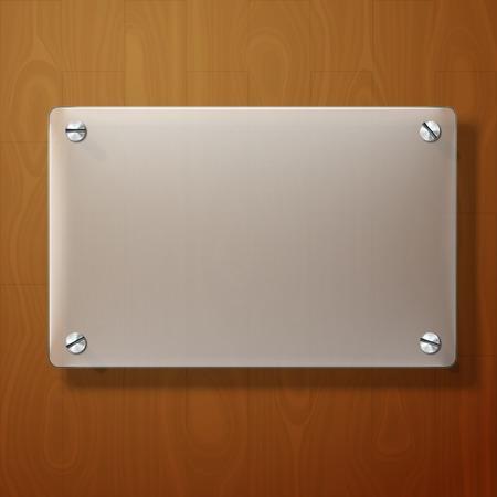 material de vidrio: Vector placa de vidrio esmerilado en el fondo de madera. Vectores