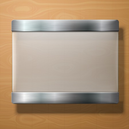 Vector frosted glass plate with metal holders, on wooden background.