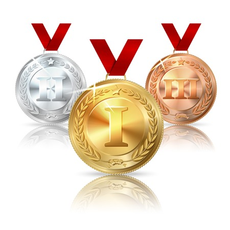 bronze medal: Vector Golden, Silver and Bronze medal with red ribbons.