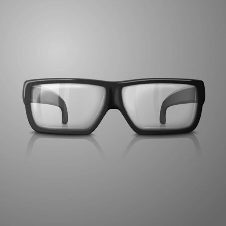 spec: Vector realistic glasses with transparent glass for every background.