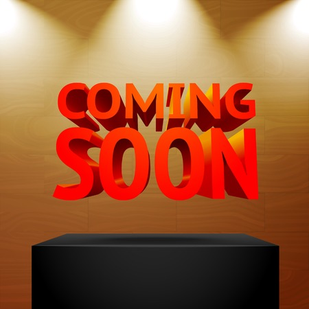 coming soon: Stage with the spot light projectors lightning -Coming Soon- message Illustration