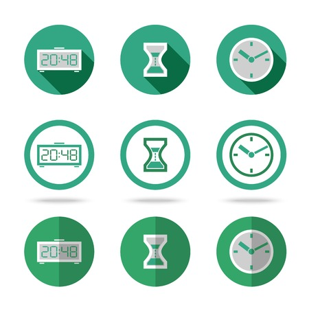 Flat time icons set. Different kinds of flat style. Vector Vector