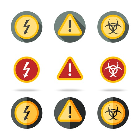 quarantine: Caution icons set - high woltage, exclamation mark, contamination sign. In different flat styles.