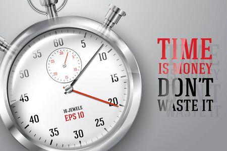 cronógrafo: Correr bandera concepto de tiempo con el reloj de plata cronómetro brillante y lugar para el texto. Vector