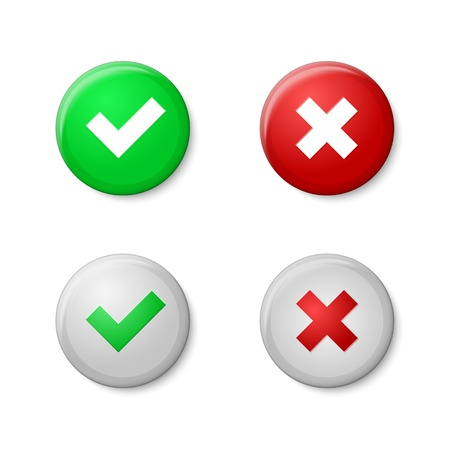 green tick: Check marks. Realistic buttons style, with gloss and shadows. Vector Illustration