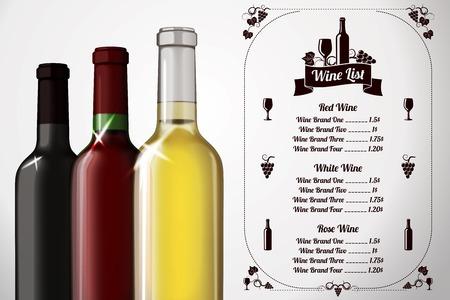 Menu template - for alcohol with three realistic wine bottles Ilustração