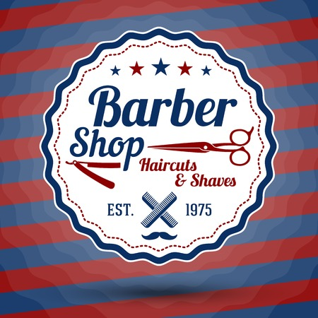 Vector retro stylized sign for Barber Shop on classic barbers background. Vector