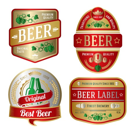 Set helle Bier-Etiketten, verschiedenen Formen. Vektor Standard-Bild - 37193834