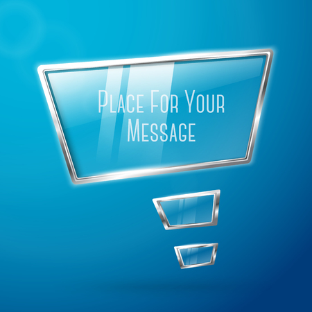 hi tech: Abstract hi tech glossy glass and metal shiny speech bubble . With place for your text. Vector