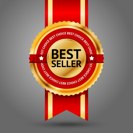 Premium golden and red Best Seller label with -Best choice- text around it. Isolated on white background. Vector