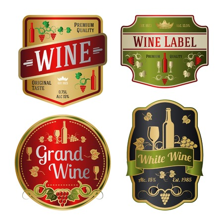 different shapes: Set of colorful wine labels, different shapes. Vector