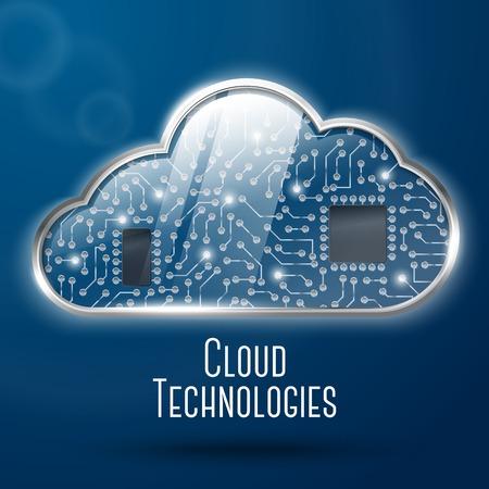 undercover: La tecnologia di cloud computing concetto illustrazione, in acciaio con vetro nuvola e microchip orologeria sotto copertura. Con il posto per il testo. Vettore