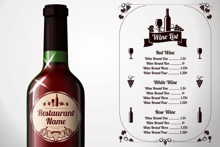 red wine bottle: Plantilla del men� - para el alcohol con una botella de vino tinto realista. Vector