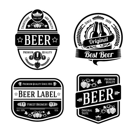 lager beer: Black monochrome beer labels of different shapes. Vector