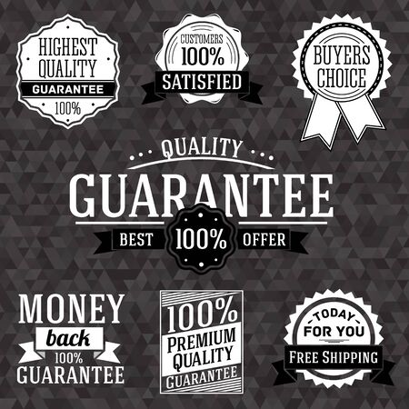 Collection of vintage business labels with popular trade phrases for selling. Vector Vector