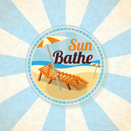 Summer sun bathe on the shore retro background