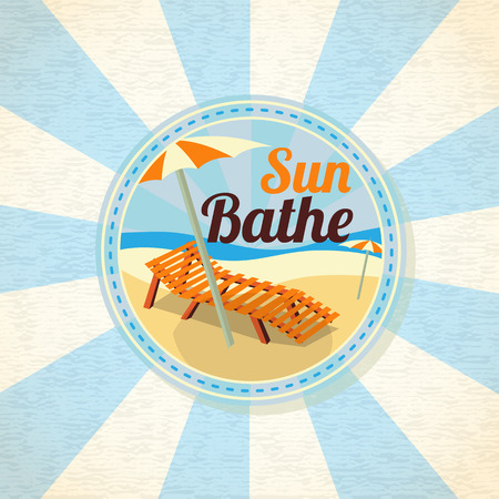 sun beach: Summer sun bathe on the shore retro background