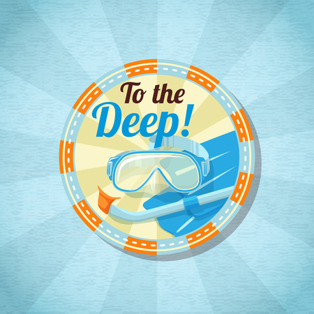 scuba diving: Summer diving stuff on the sand. Vector