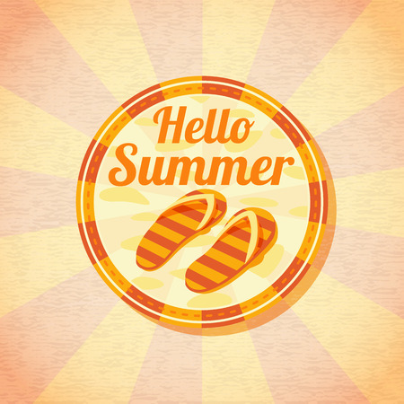 beach slippers: Hello summer retro background with beach slippers. Vector.