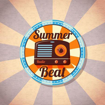 knobs: Retro summer beat radio badge. Vector.