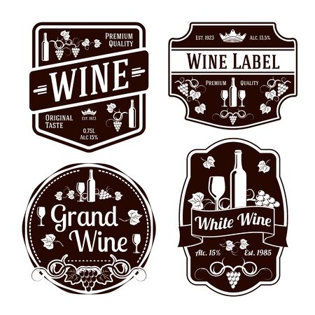badge with ribbon: Dark monochrome wine labels of different shapes. Vector