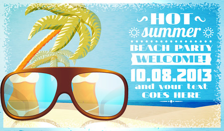 beach party people: Summer beach party invitation, glasses on the sand with palms and ocean behind. Vector.