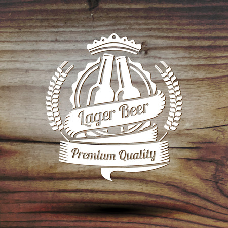 brown bottles: Old styled label for your beer business, shop, restaurant etc. On old wooden texture. Vector