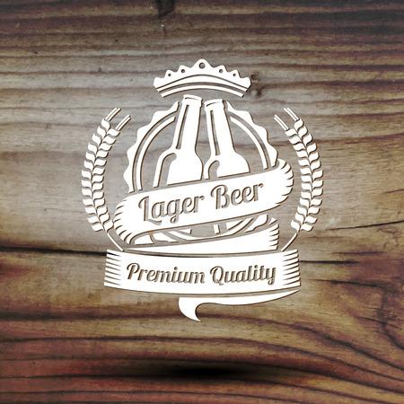 logotipos de restaurantes: Viejo estilo etiqueta para su negocio de cerveza, tienda, restaurante, etc. En textura de madera vieja. Vector