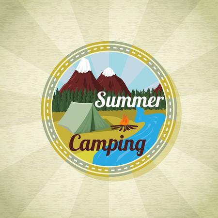 campamento: Acampar paisaje con tienda y hoguera, retro vector Vectores