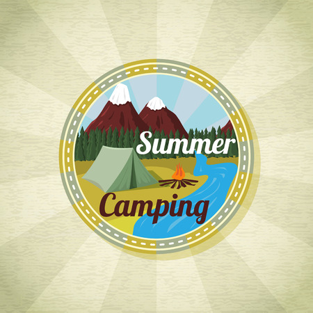 camp: Camping landscape with tent and bonfire, retro vector