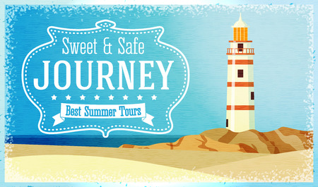 beacon: Journeys and tours advertisement with ocean beacon on the rock. Vector