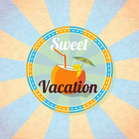 Summer beach cocktail in coconut with umbrella and lemon slice. Retro background Vector