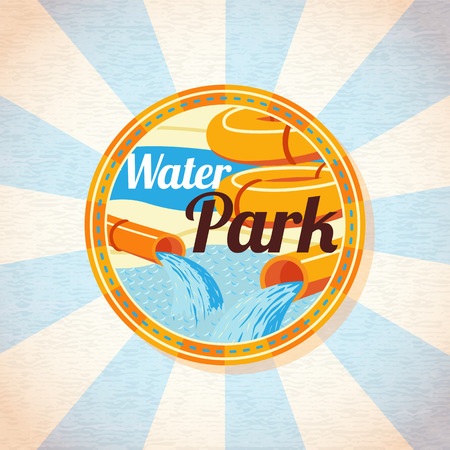 water park: Water park tubes with pool. Retro background