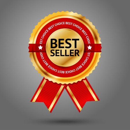 Premium golden and red Best Seller label with -Best choice- text around it. Isolated on grey background. Vector