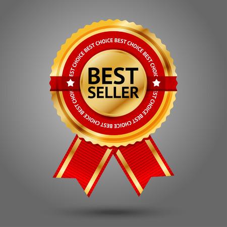 Premium gouden en rode Best Seller label met -Best keuze- tekst eromheen. Geïsoleerd op een grijze achtergrond. Vector Stock Illustratie