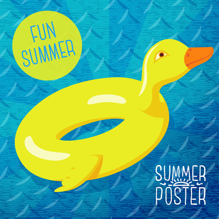 Cute summer poster - fun sea rubber duck, with speech bubble for your text. Vector. Vector