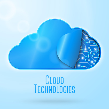 Cloud computing technology concept illustration. Clockwork or microchips undercover. With place for your text. Vector