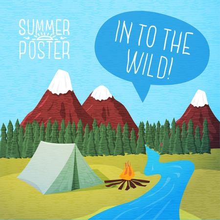 campamento: Lindo cartel verano - Camping paisaje con tienda de campaña y fogata, burbuja del discurso para el texto. Vector.