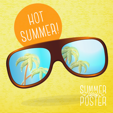 sunglasses reflection: Cute summer poster - sunglasses with palms reflection in them. Speech bubble for your text. Vector.