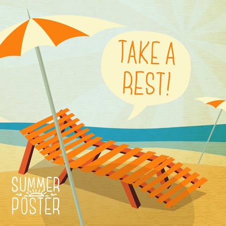 longue: Cute summer poster - sun bathe on the chaise longue with umbrella, speech bubble for your text. Vector.