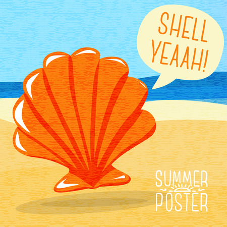 shore: Cute summer poster - sea shell on the shore, with speech bubble for your text. Illustration