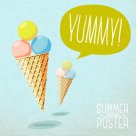 yummy: Cute summer poster - cones with yummy ice-cream, speech bubble for your text. Vector. Illustration