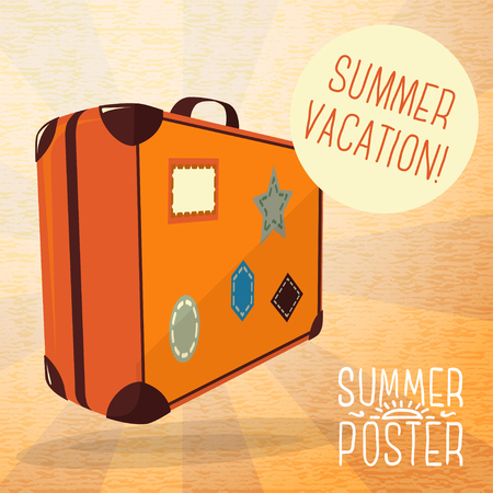 old suitcase: Cute summer poster - journey suitcase with labels, speech bubble for your text. Vector. Illustration
