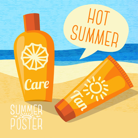 sun care: Cute summer poster - sun care creams on the beach, with speech bubble for your text.