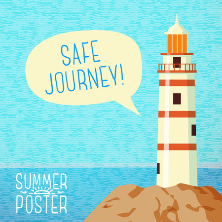 beacon: Cute summer poster - sea beacon on the rock, with speech bubble for your text. Vector. Illustration