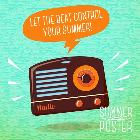 microfono de radio: Cartel lindo del verano - la radio tocando música fresca, con bocadillo para el texto.