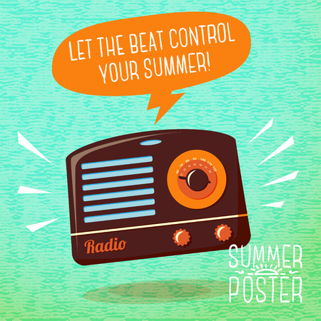 fm radio: Cute summer poster - radio playing cool music, with speech bubble for your text.